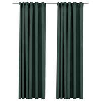 vidaXL 2 db zöld vászonhatású sötétítőfüggöny kampókkal 140 x 245 cm