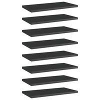 vidaXL 8 db magasfényű fekete forgácslap könyvespolc 40 x 20 x 1,5 cm