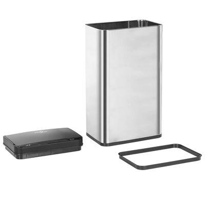 vidaXL ezüst és fekete automata érzékelős rozsdamentes acél kuka 70 L