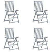vidaXL 4 db szürke tömör akácfa kerti dönthető szék