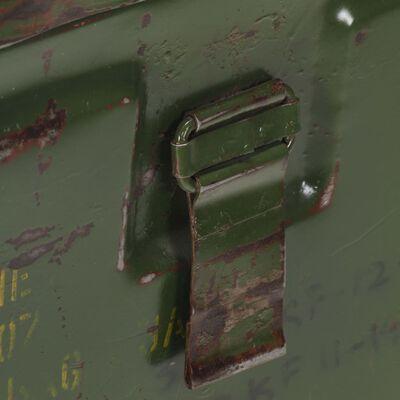vidaXL katonai stílusú vas tárolóláda 68 x 24 x 66 cm
