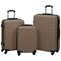 vidaXL 3 db barna ABS keményfalú gurulós bőrönd