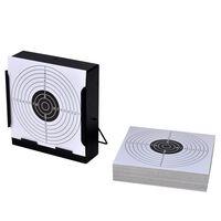 vidaXL négyzet alakú lőlaptartó lövedékgyűjtővel+100 papírcéltábla 14cm