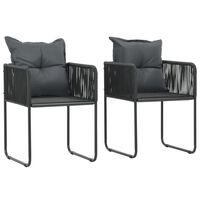 vidaXL 2 db fekete polyrattan kültéri szék párnával