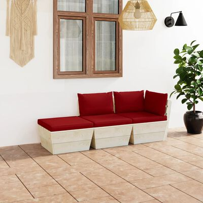 vidaXL 3 részes lucfenyő kerti raklap-bútorgarnitúra párnákkal