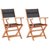 vidaXL 2 db fekete összecsukható tömör eukaliptuszfa és textilén szék
