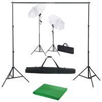 vidaXL fotóstúdió-felszerelés háttérrel, lámpákkal és ernyőkkel