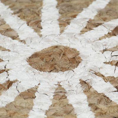 vidaXL kézzel font jutaszőnyeg fehér mintával 150 cm