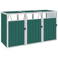 vidaXL zöld acél kukatároló 3 db kukához 213 x 81 x 121 cm