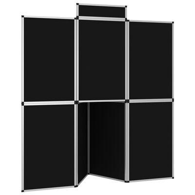 vidaXL fekete 8 paneles összecsukható kiállítófal asztallal 181x200 cm