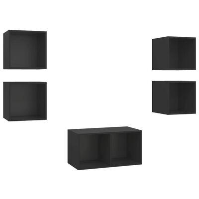 vidaXL 5 részes fekete forgácslap TV-szekrény szett