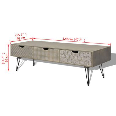 vidaXL 120x40x36 cm TV szekrény 3 fiókkal szürke