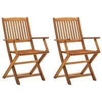 vidaXL 2 db tömör akácfa összecsukható kültéri szék