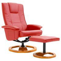 vidaXL piros műbőr elforgatható TV-fotel lábzsámollyal