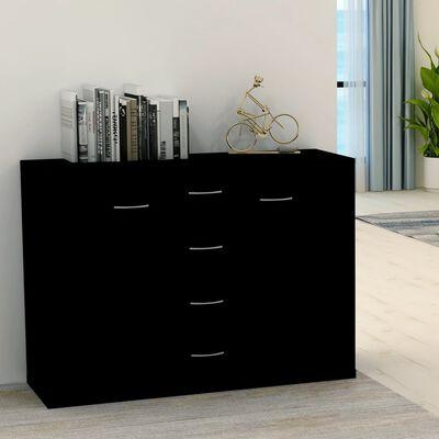 vidaXL fekete forgácslap tálalószekrény 88 x 30 x 65 cm