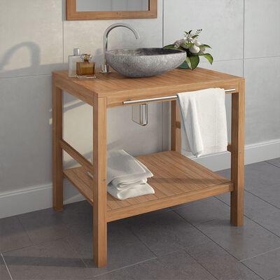 vidaXL tömör tíkfa fürdőszobai pipereszekrény 74 x 45 x 75 cm