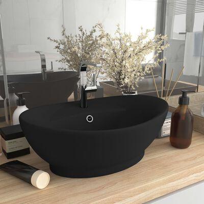 vidaXL ovális matt fekete kerámia mosdókagyló túlfolyóval 58,5 x 39 cm