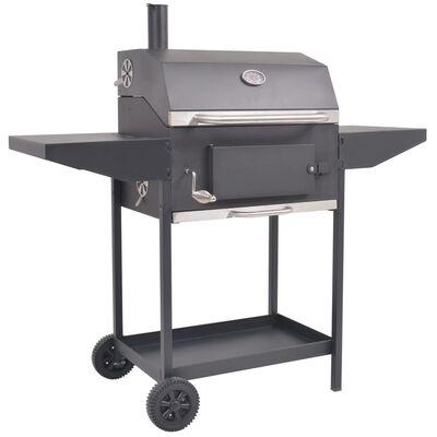 vidaXL BBQ fekete faszén grillsütő polccal