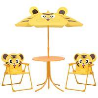 vidaXL 3 részes sárga kerti gyerekbisztrószett napernyővel
