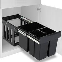 vidaXL lágyan csukódó újrahasznosított kihúzható konyhai szemetes 48 l