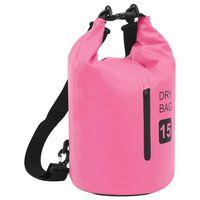 vidaXL rózsaszín PVC cipzáras szárazzsák 15 L