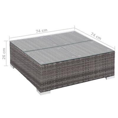 vidaXL 6-részes szürke polyrattan kerti bútorszett párnákkal