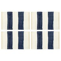 vidaXL 4 db fehér-kék csíkos pamut chindi tányéralátét 30 x 45 cm
