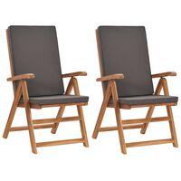vidaXL 2 db szürke dönthető tömör tíkfa kerti szék párnákkal