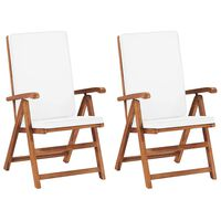 vidaXL 2 db krémszínű dönthető tömör tíkfa kerti szék párnákkal