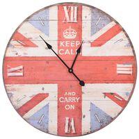 vidaXL vintage stílusú brit zászlós falióra 60 cm