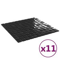 vidaXL 11 db fényes fekete öntapadó üveg mozaikcsempe 30 x 30 cm