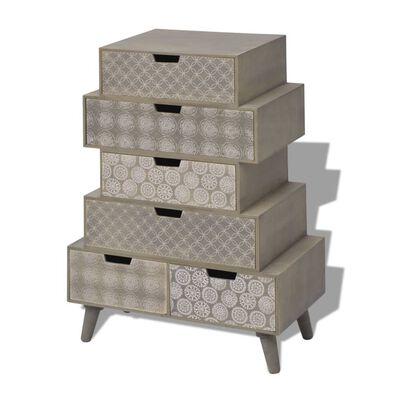 vidaXL 6 fiókos szürke szekrény