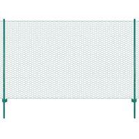 vidaXL zöld acél drótkerítés tartóoszlopokkal 25 x 2 m