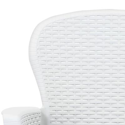 vidaXL 5-részes fehér rattan hatású műanyag kültéri étkezőgarnitúra