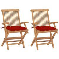 vidaXL 2 db tömör tíkfa kerti szék piros párnával