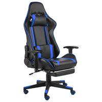 vidaXL kék PVC forgó gamer szék lábtartóval