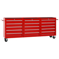 vidaXL 15 fiókos piros acél szerszámos kocsi