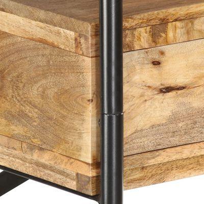 vidaXL 4-szintes tömör mangófa és acél könyvespolc 120 x 35 x 180 cm