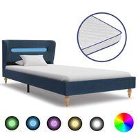 vidaXL kék LED-es szövetágy memóriahabos matraccal 90 x 200 cm