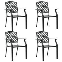 vidaXL 4 darab fekete acél kültéri szék rácsos dizájnnal