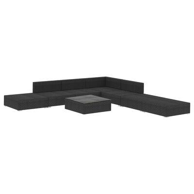vidaXL 8-részes fekete polyrattan kerti bútorszett párnákkal