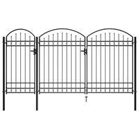 vidaXL ívelt tetejű fekete acél kerítéskapu 2,5 x 4 m