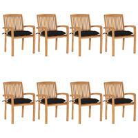 vidaXL 8 db rakásolható tömör tíkfa kerti szék párnákkal