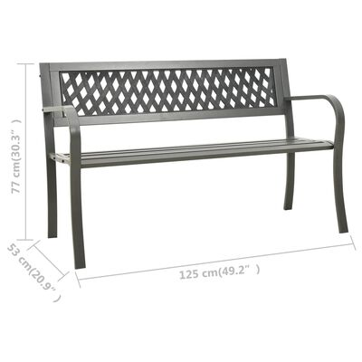 vidaXL szürke kerti acélpad 125 cm