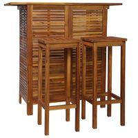 vidaXL 3 részes tömör akácfa bárasztal és szék garnitúra