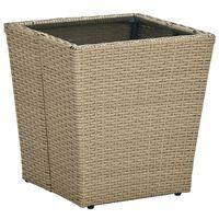 vidaXL bézs polyrattan és edzett üveg dohányzóasztal 41,5x41,5x44 cm