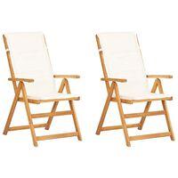 vidaXL 2 db barna tömör akácfa dönthető kerti szék