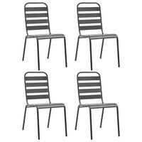 vidaXL 4 darab sötétszürke acél kültéri szék lécezett dizájnnal