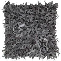 vidaXL szürke bőr és pamut bozontos párna 60 x 60 cm
