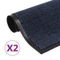 vidaXL 2 db kék négyszögletes bolyhos szennyfogó szőnyeg 80 x 120 cm